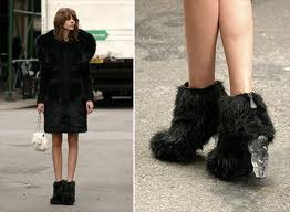 chanel fur booties black