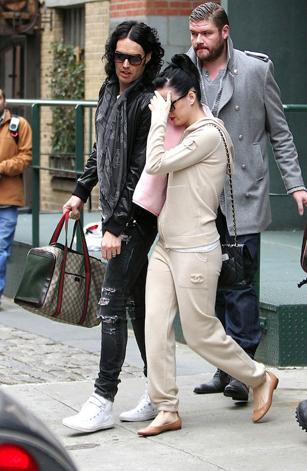 Katy-Perry-Chanel-Sweatsuit-quilted-bag-Russell-Brand-Gucci-dog-bag-Neil-Barrett-waxed-jeans