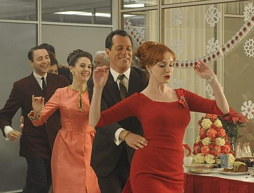wear mad men christmas party conga line