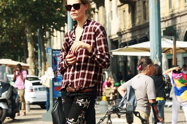 flannel street style top
