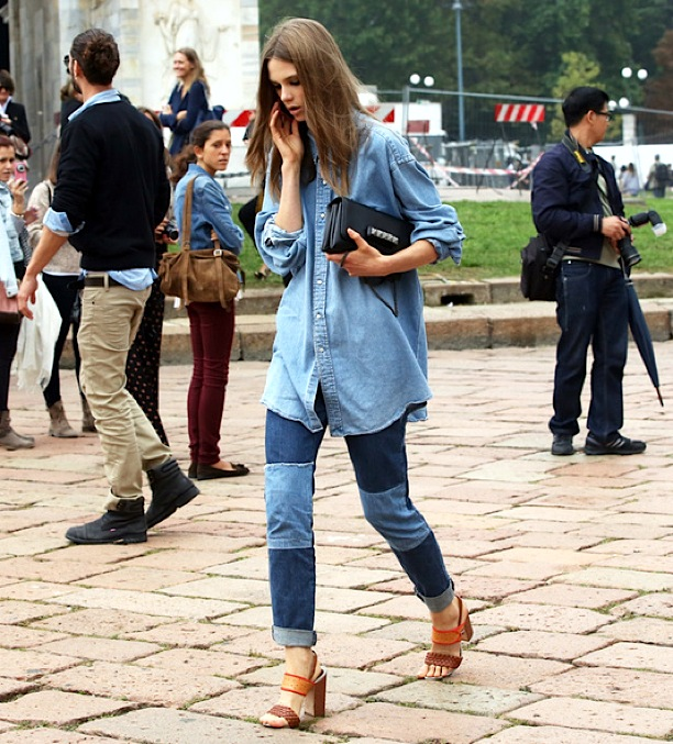 STREET-STYLE-FASHION-WEEK-MODEL-OFF-DUTY-caroline-brasch-nielsen-DENIMON-DENIM-CANADIAN-TUXEDO-CHAMBRAY-SHIRT-PATCHWORK-JEANS-CUFFED-ROLLED-ANKLE-SANDALS-VALENTINO-ROCKSTUD-BAG