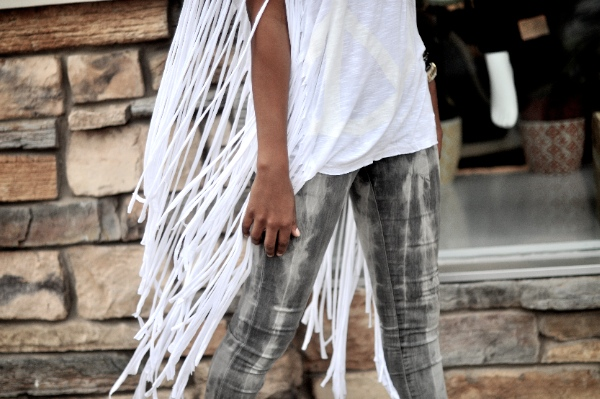 white fringe tee shirt