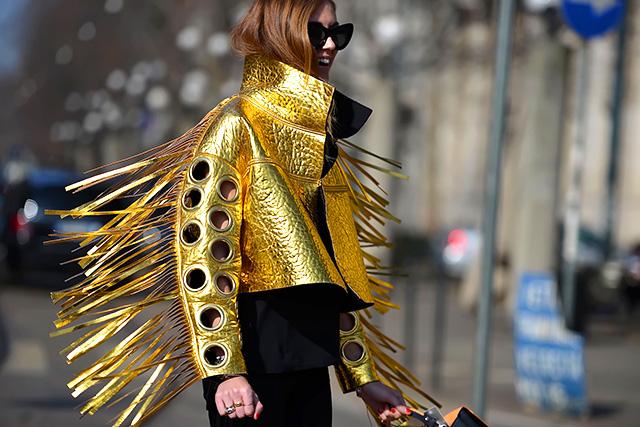 gold street style fringe jacket