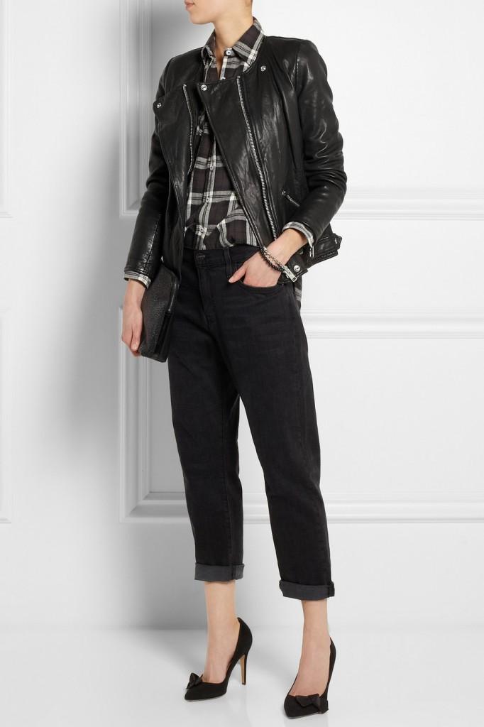 plaid shirt leather jacket