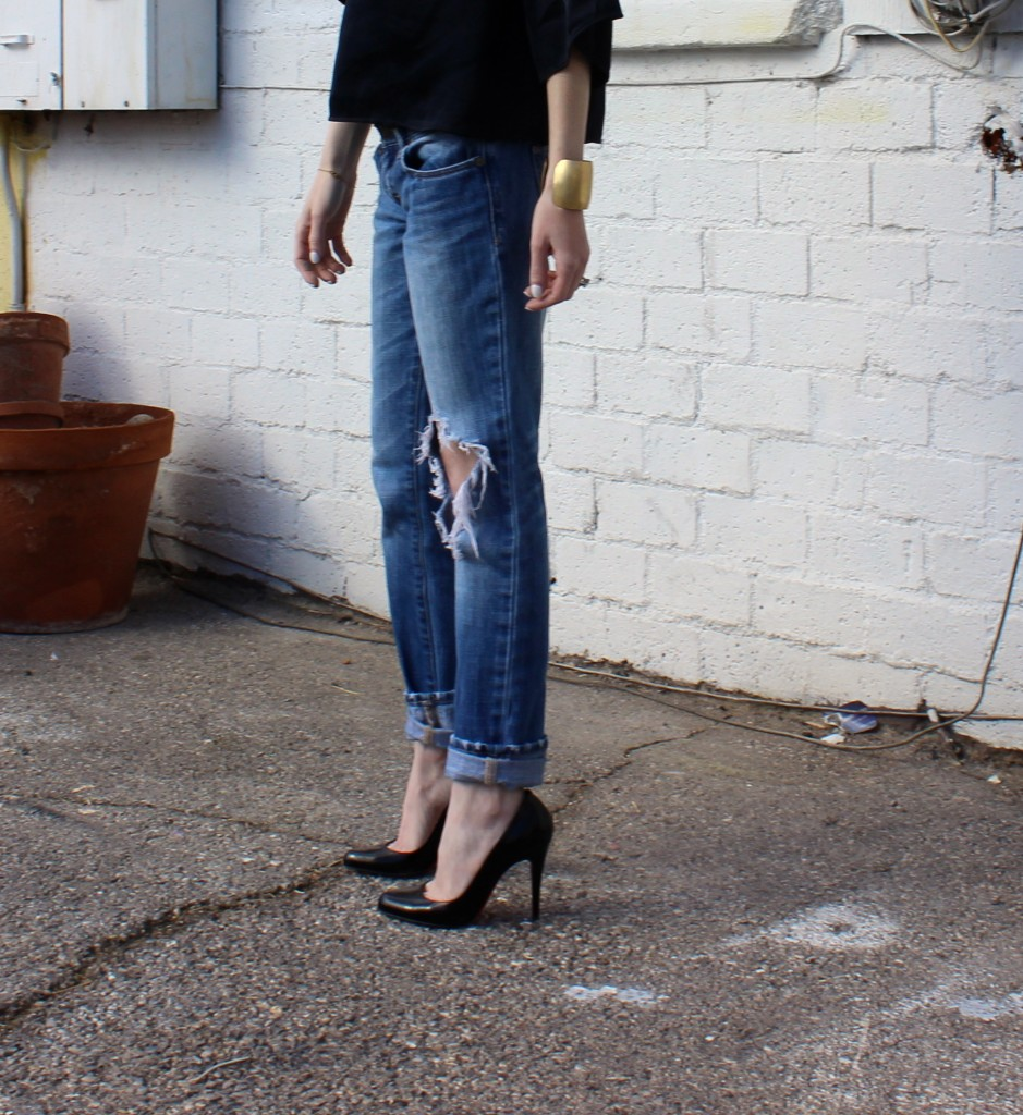 boyfriend jeans and louboutins