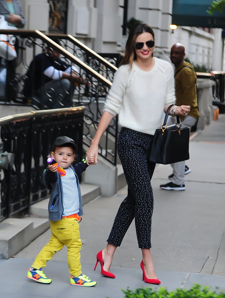 Miranda-spotted-her-son-Flynn-while-wearing-cozy-white