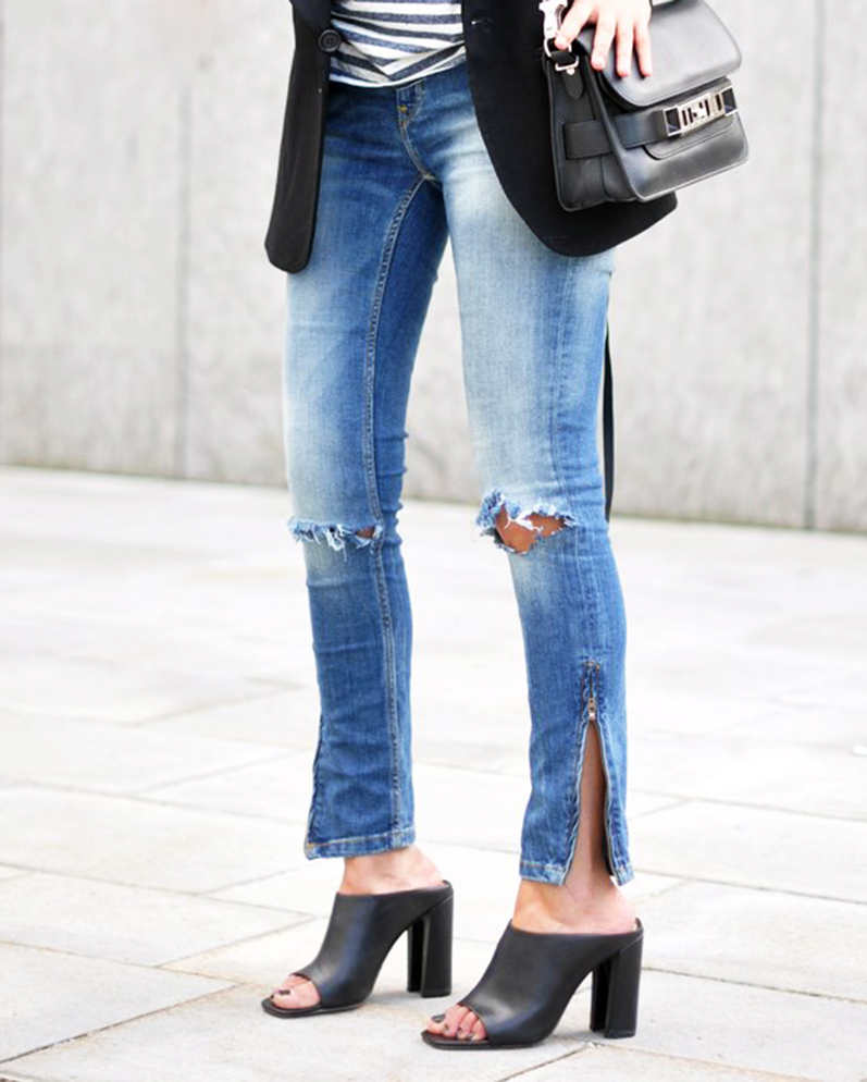 ripped jeans with mules