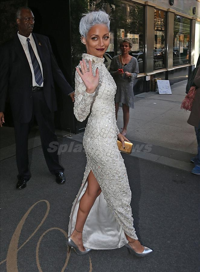 Nicole Richie with a new hair cut leaves the Carlyle Hotel for the Met Gala in New York City