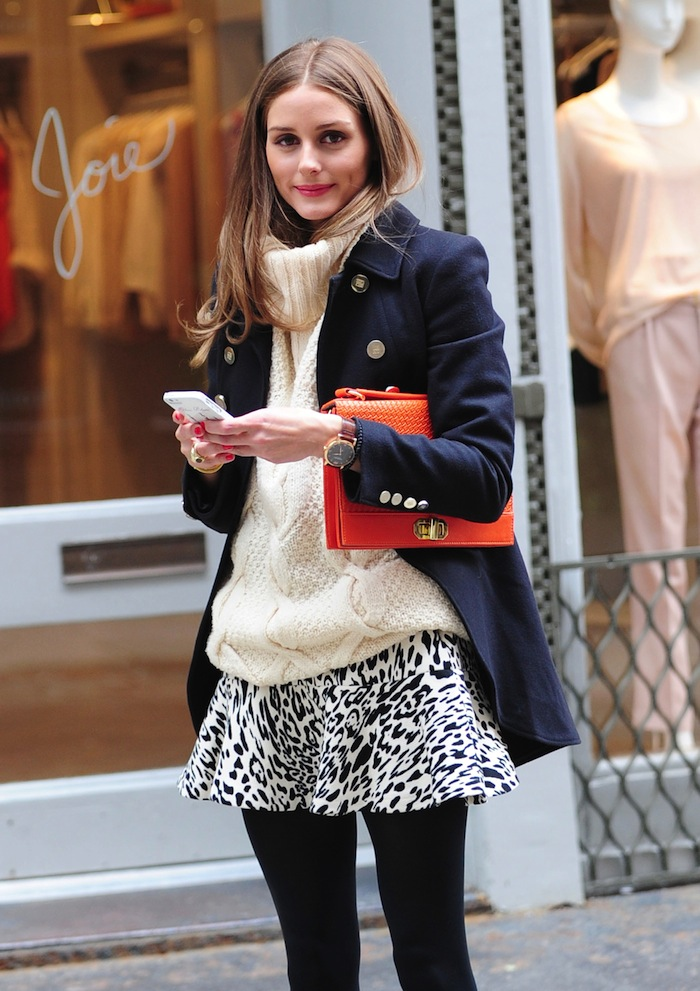 Olivia Palermo Adds a Pop of Color to Her Outfit With Her olivia + joy Clutch