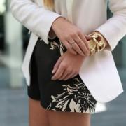 Paula-Joye-floral-black-whtie-shorts-white-blazer-gold-accessories-new-age-street-fashion