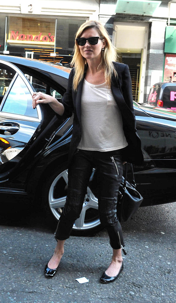 Kate Moss arriving at the Topshop office, London