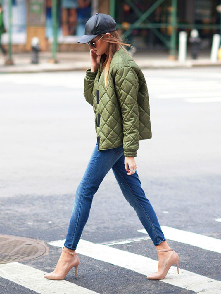 DANIELLE-OF-WEWOREWHAT-army-jacket-skinny-cropped-denim-nude-pumps-bseball-cap-aviators-fashionoverreason