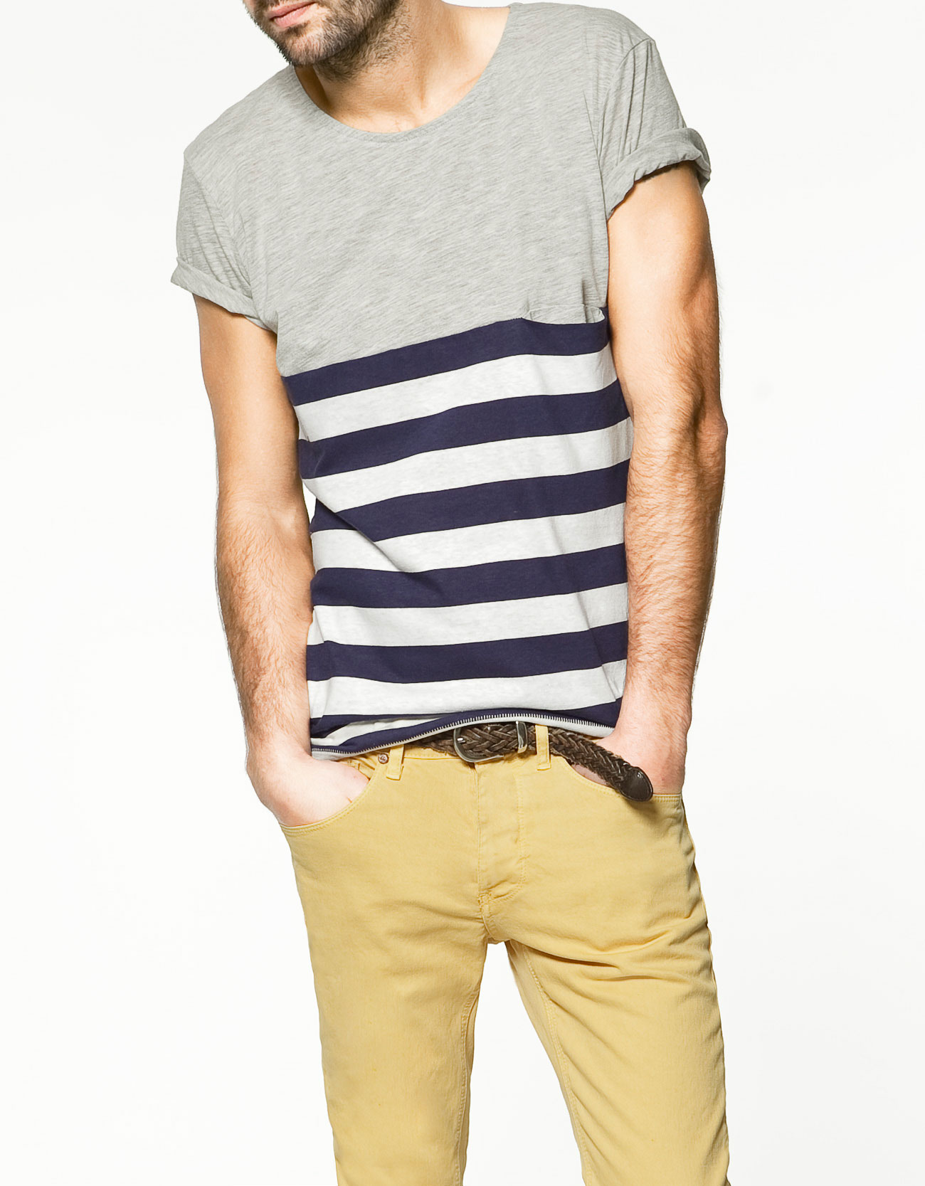 Client makeover marketing man lauren messiah for Grey striped t shirt