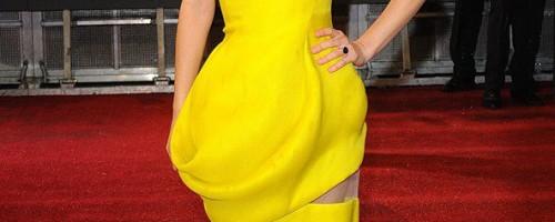 strapless yellow dress red carpet