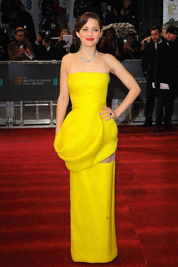strapless yellow dress red carpet