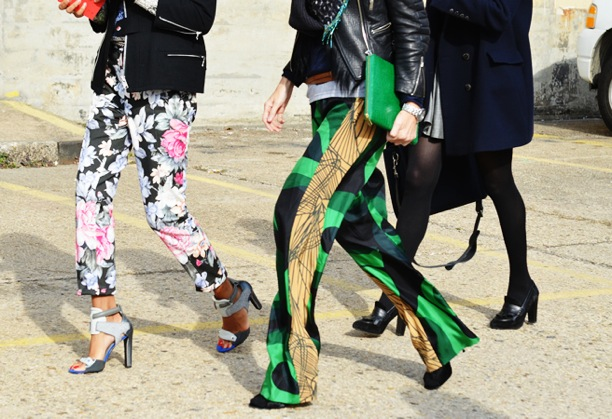 print-pant-tommy-ton-style-com-street-style-fashion-week-floral-celine-alexander-wang-silver-cape-heels-silk-pj-print